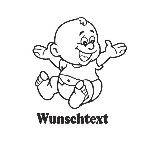 Junge mit Namen als Babyaufkleber