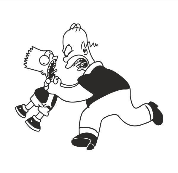 Bart und Homer Aufkleber