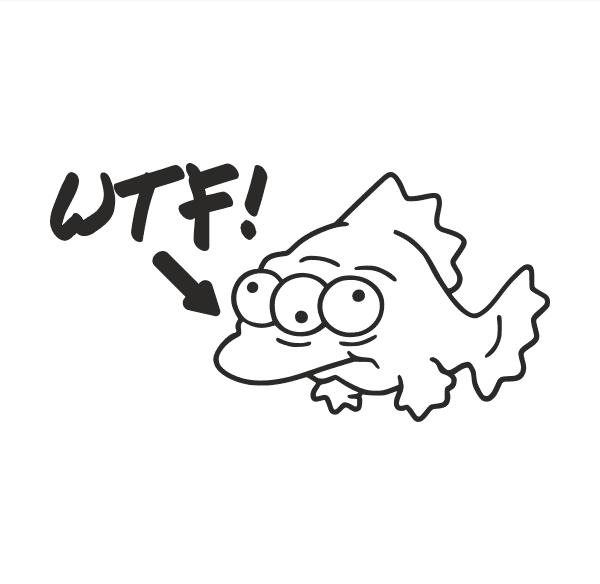 Fisch WTF Aufkleber