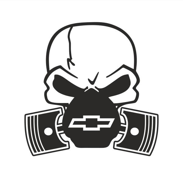 Chevrolet Skull Piston Aufkleber