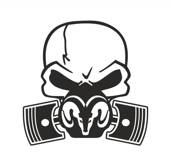 Dodge Skull Piston Aufkleber
