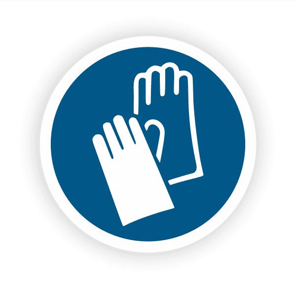 Handschutz benutzen Aufkleber