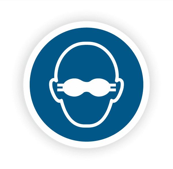 Weitgehend lichtundurchlässigen Augenschutz benutzen Aufkleber