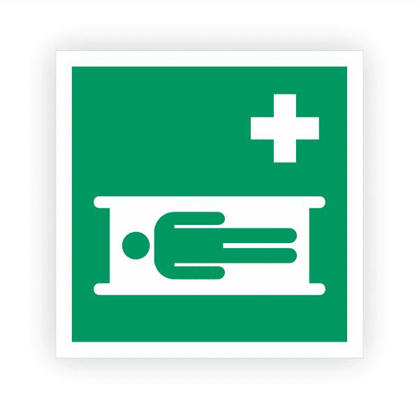 Krankentrage Aufkleber   Rettungszeichen