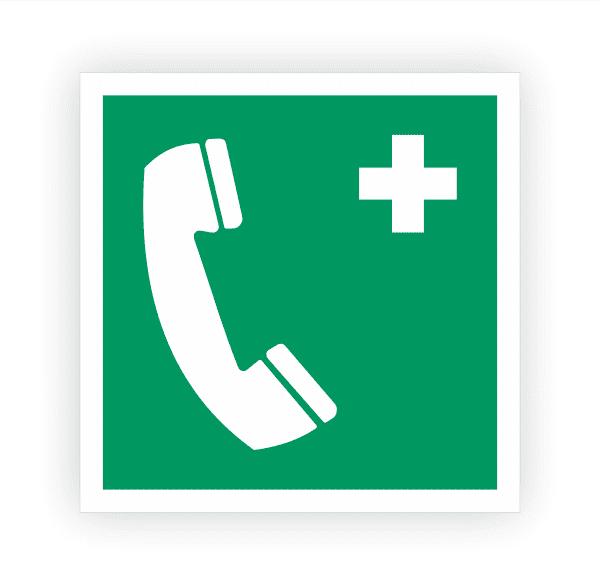 Notruftelefon Aufkleber   Rettungszeichen