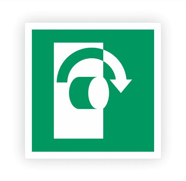 Öffnung durch Rechtsdrehung Aufkleber   Rettungszeichen