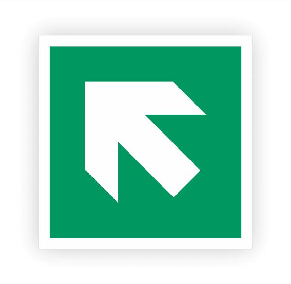 Zusatzzeichen Pfeil links oben Aufkleber   Rettungszeichen
