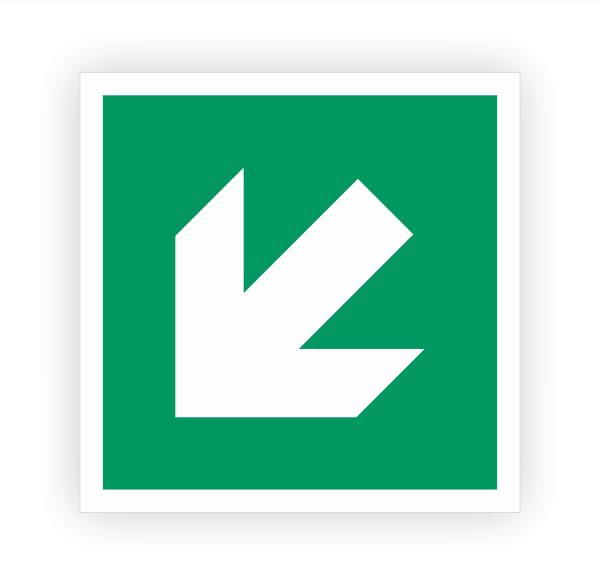 Zusatzzeichen Pfeil links unten Aufkleber | Rettungszeichen