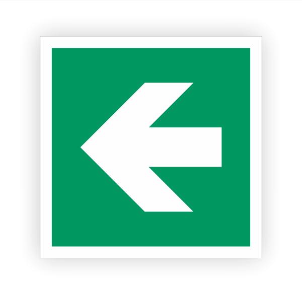Zusatzzeichen Pfeil links Aufkleber | Rettungszeichen