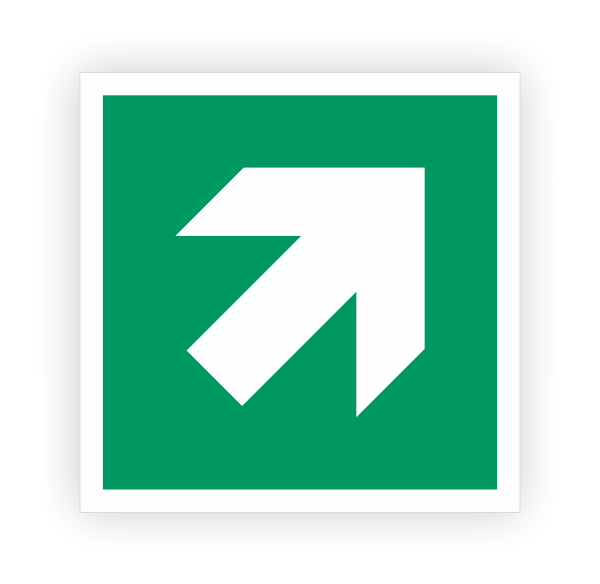 Zusatzzeichen Pfeil rechts oben Aufkleber | Rettungszeichen