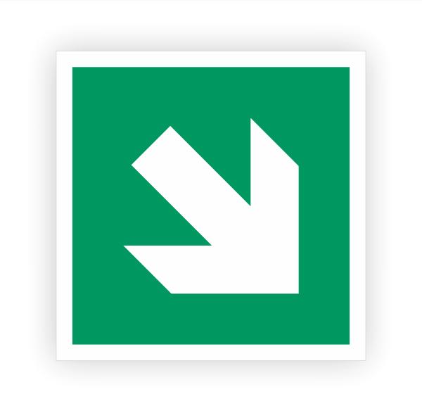 Zusatzzeichen Pfeil rechts unten Aufkleber | Rettungszeichen