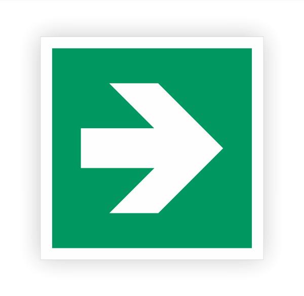 Zusatzzeichen Pfeil rechts Aufkleber   Rettungszeichen