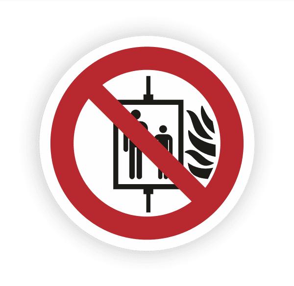 Aufzug im Brandfall nicht benutzen Aufkleber