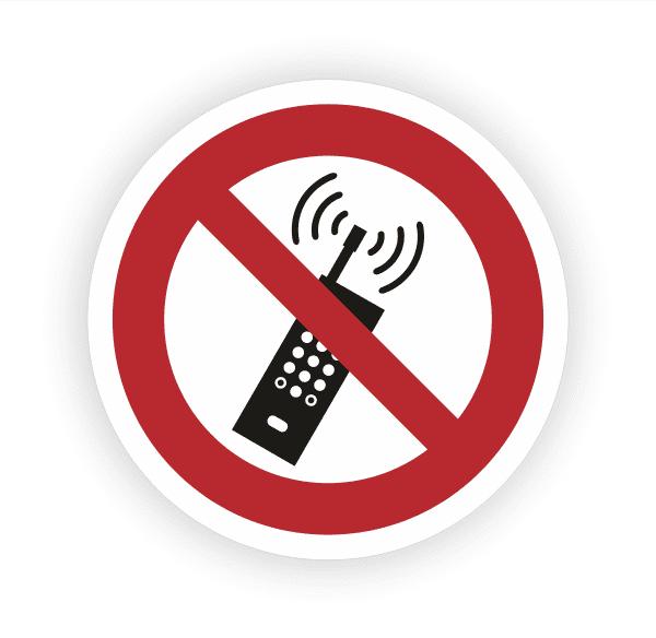 Eingeschaltete Mobiltelefone verboten Aufkleber