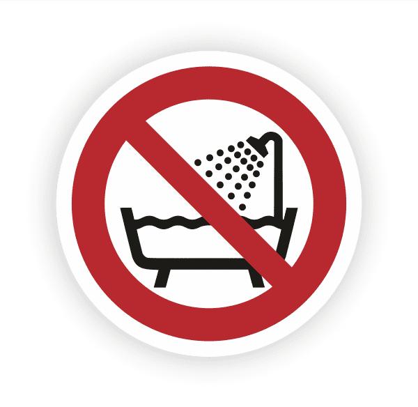 Verbot dieses Gerät über gefülltem Becken zu benutzen Aufkleber