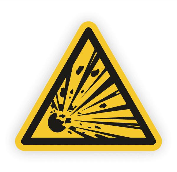 Warnung vor explosionsgefährlichen Stoffen Aufkleber