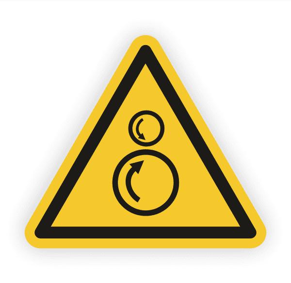 Warnung von gegenläufigen Rollen Aufkleber
